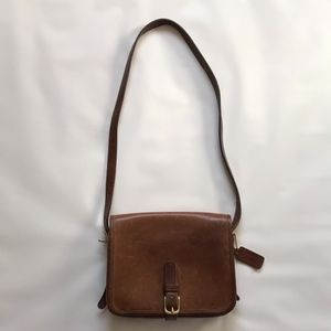 80s Vintage Coach Brown Leather Saddle Bag